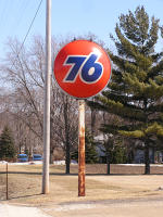 76 sign in St. Michaels, WI