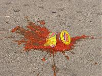 jar of salsa broken in the parking lot